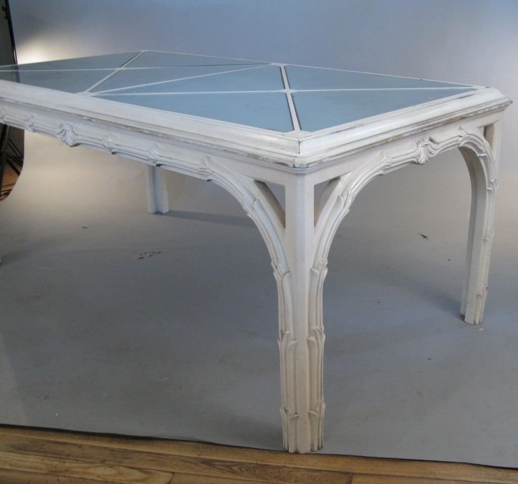 vintage hollywood regency carved palm and mirror dining table at 1stdibs. Black Bedroom Furniture Sets. Home Design Ideas