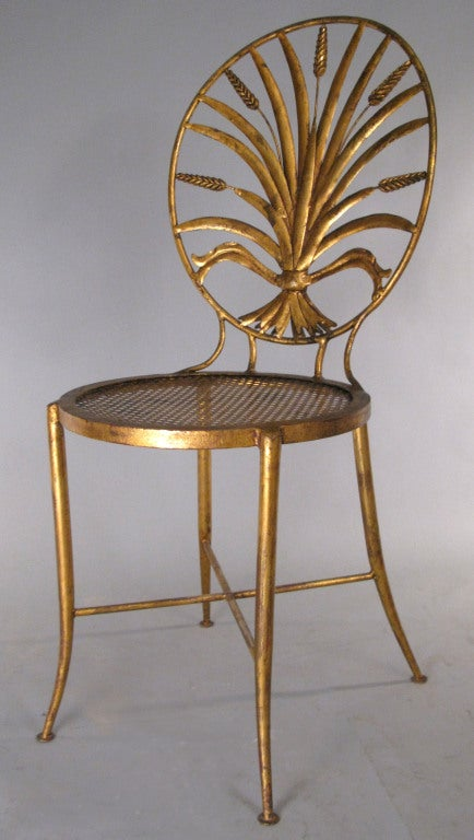 Mid-20th Century Pair of Vintage Italian Gilt Gold Sheaf of Wheat Chairs