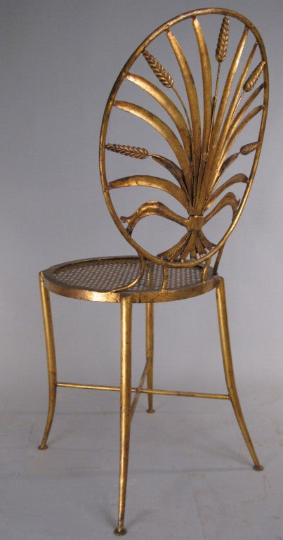 Pair of Vintage Italian Gilt Gold Sheaf of Wheat Chairs 1