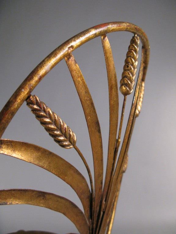 Pair of Vintage Italian Gilt Gold Sheaf of Wheat Chairs 2