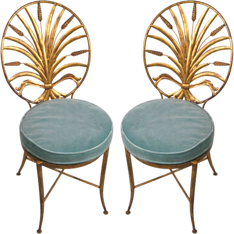 Pair of Vintage Italian Gilt Gold Sheaf of Wheat Chairs