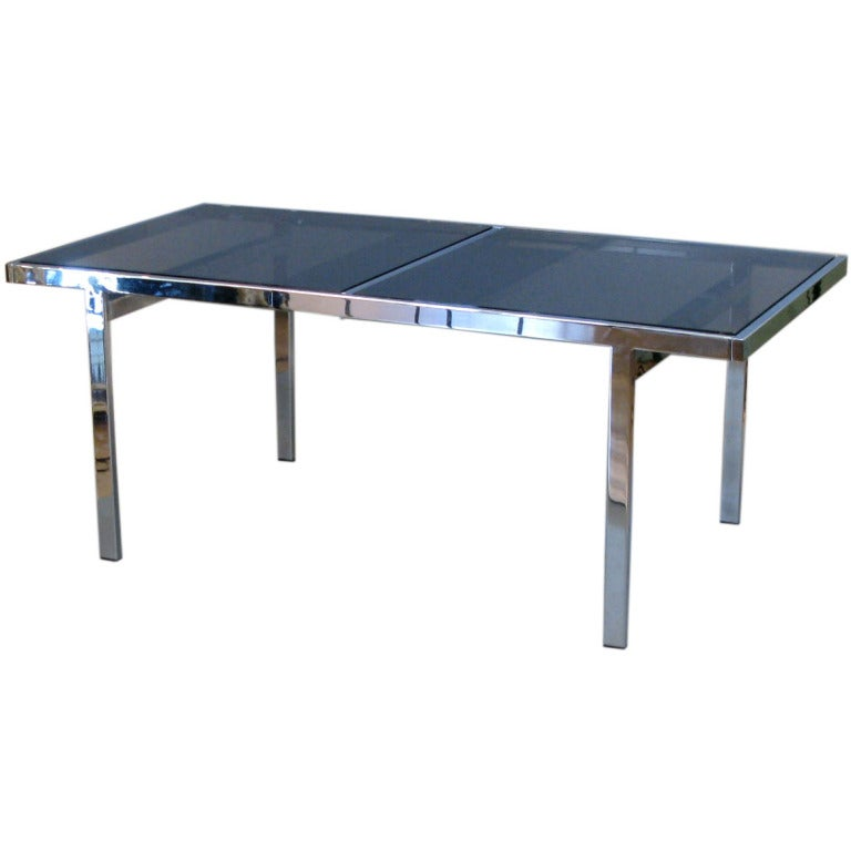 Vintage Modern Chrome And Glass Extension Dining Table At