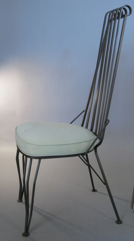 Set Of Four Wrought Iron High Back Chairs At 1stdibs