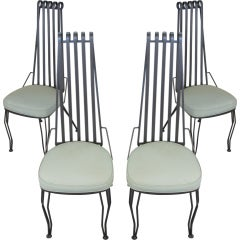 Set of Four Wrought Iron High Back Chairs
