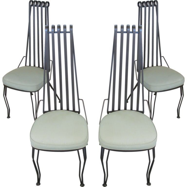 Set Of Four Wrought Iron High Back Chairs 1