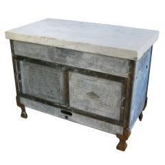 Antique Industrial Cast Iron and Marble Island Cabinet