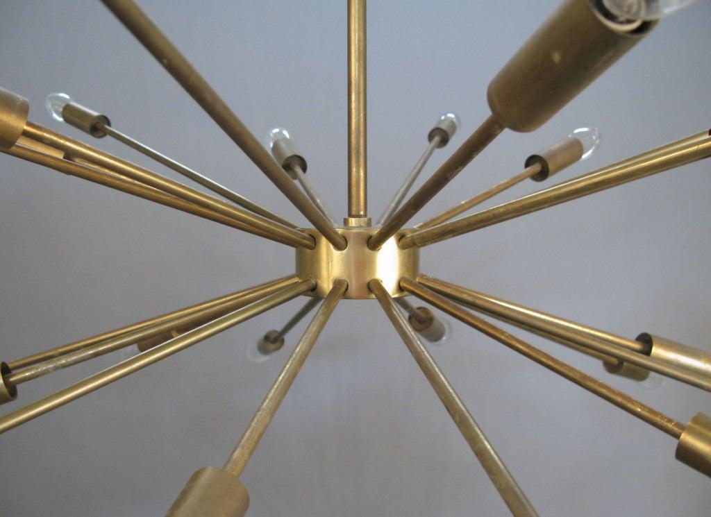 Large vintage brass sputnik chandelier at 1stdibs for Sputnik chandelier