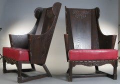 Antique Carved British Oak Chairs by Jamestown Lounge Co. image 3