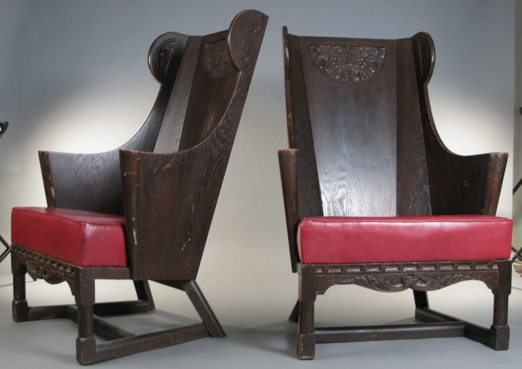 Antique Carved British Oak Chairs By Jamestown Lounge Co