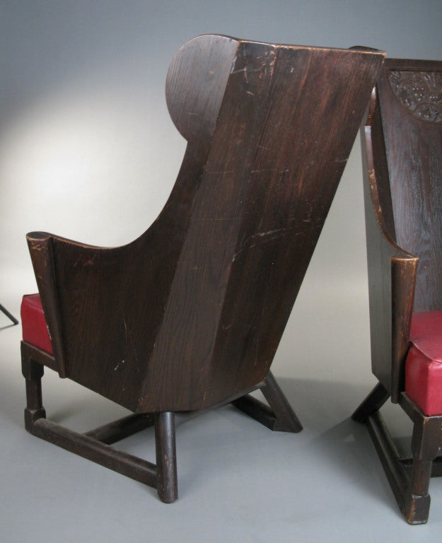 Wood Antique Carved British Oak Chairs by Jamestown Lounge Co. For Sale