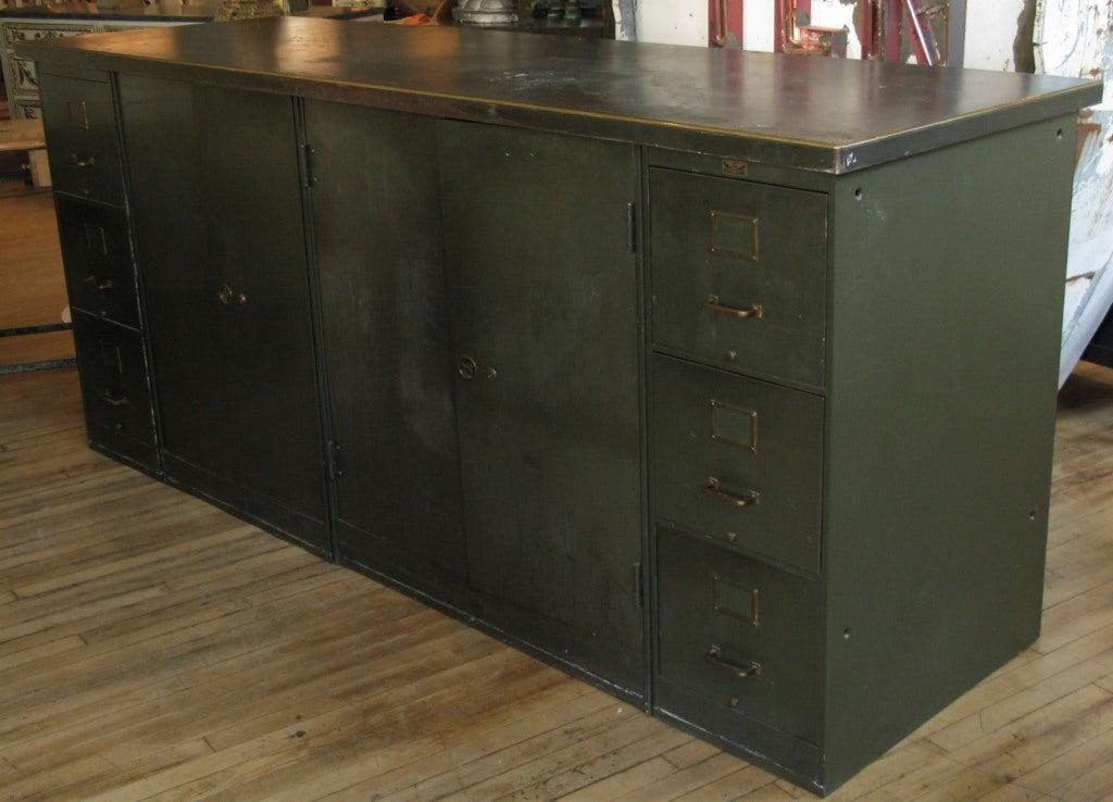 an exceptional antique 1940u0027s dark green industrial steel storage file cabinet with brass trim and & Antique Steel and Brass Industrial Storage File Cabinet at 1stdibs