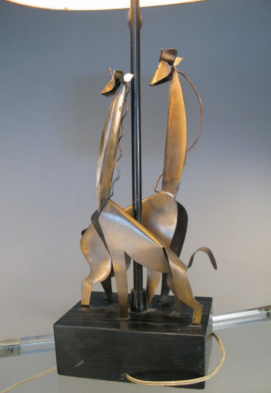 Charming Vintage Copper Giraffe Lamp By Heifetz At 1stdibs