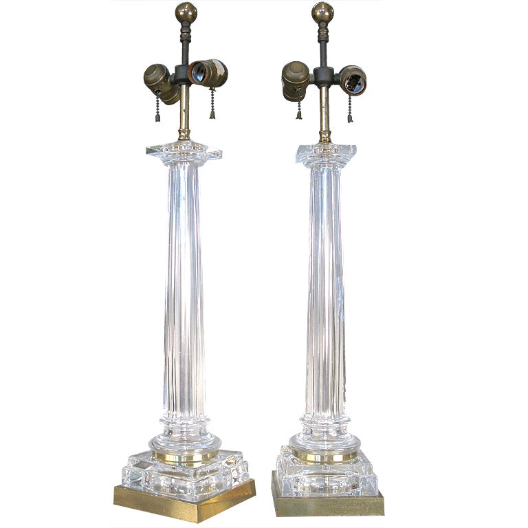 Glass Neoclassic Column Lamps By Chapman At 1stdibs