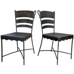 Pair Mid-Century Iron X Base Chairs
