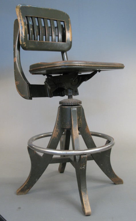 Antique industrial drafting stool by sikes at 1stdibs