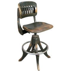 Antique Industrial Drafting Stool by Sikes
