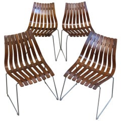 Set of Four Rosewood Scandia Chairs by Hans Brattrud