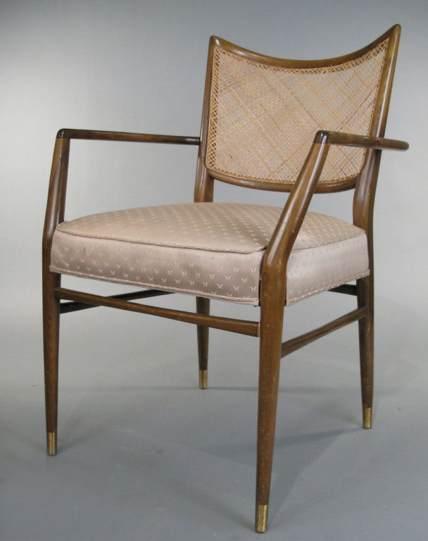 American Set of Four Mid-Century Walnut Armchairs For Sale