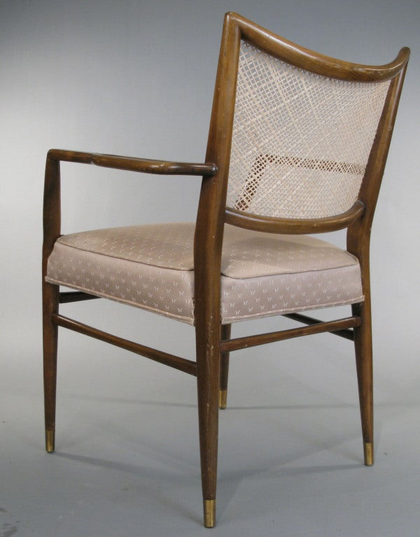 Mid-20th Century Set of Four Mid-Century Walnut Armchairs For Sale