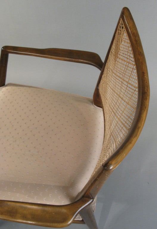 Set of Four Mid-Century Walnut Armchairs For Sale 2
