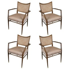 Set of Four Mid-Century Walnut Armchairs