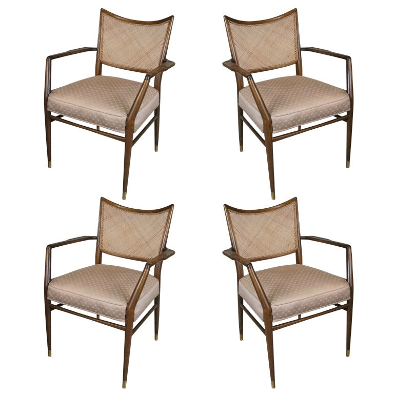 Set of Four Mid-Century Walnut Armchairs For Sale