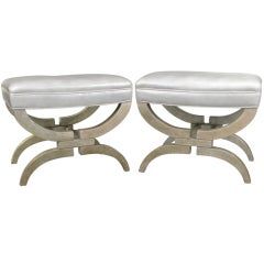 Pair of 1940's Silver Leaf  & Leather Curule Stools