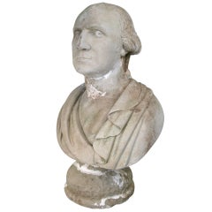 Antique Cast Stone Bust of George Washington