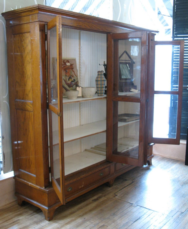 American Antique Oak & Glass Collectors Display Case For Sale