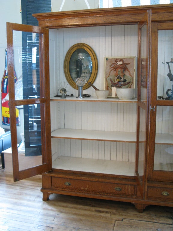 Antique Oak & Glass Collectors Display Case In Excellent Condition For Sale In Hudson, NY