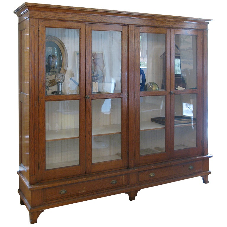 Antique Oak & Glass Collectors Display Case