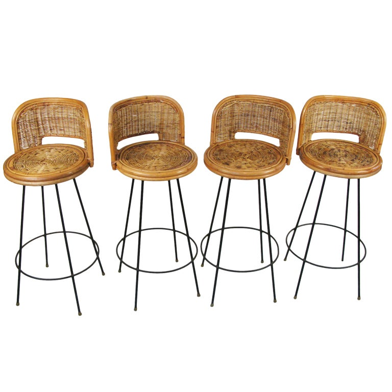 Set Of Four Iron And Cane Barstools At 1stdibs