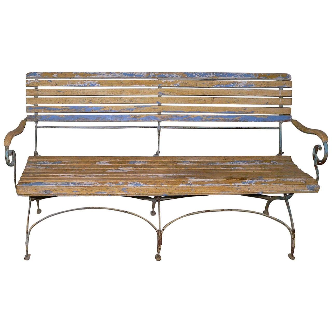 French Folding Garden Bench At 1stdibs