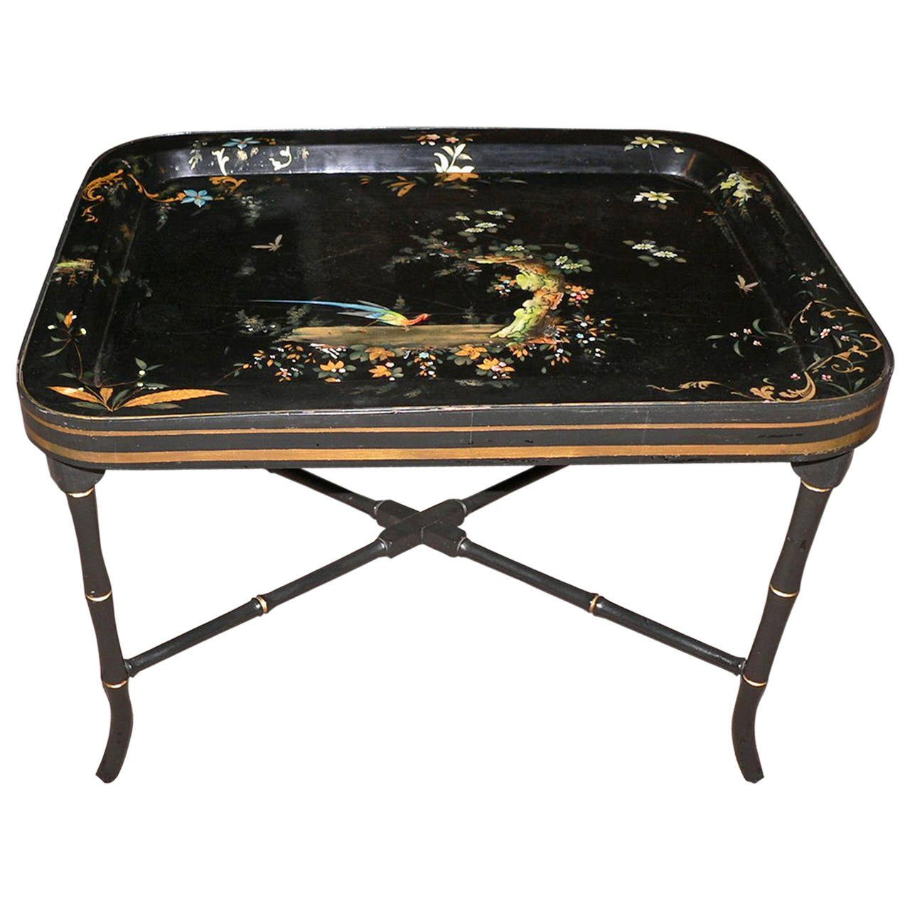 English Victorian Paper Mache Tray On Custom Stand At 1stdibs