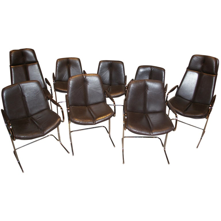 Set Of 8 Pieff 1970s Dining Chairs At 1stdibs