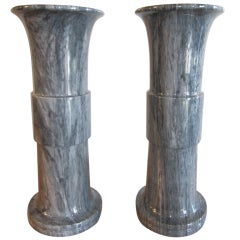 Pair of Monumental Grey Marble Vases