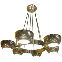 Chrome Light Fixture in the Style of Gino Sarfatti