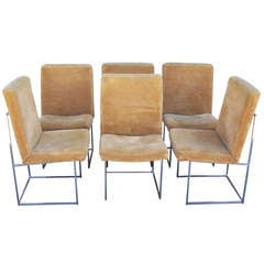 Chrome Framed Dining Chairs Designed by Milo Baughman