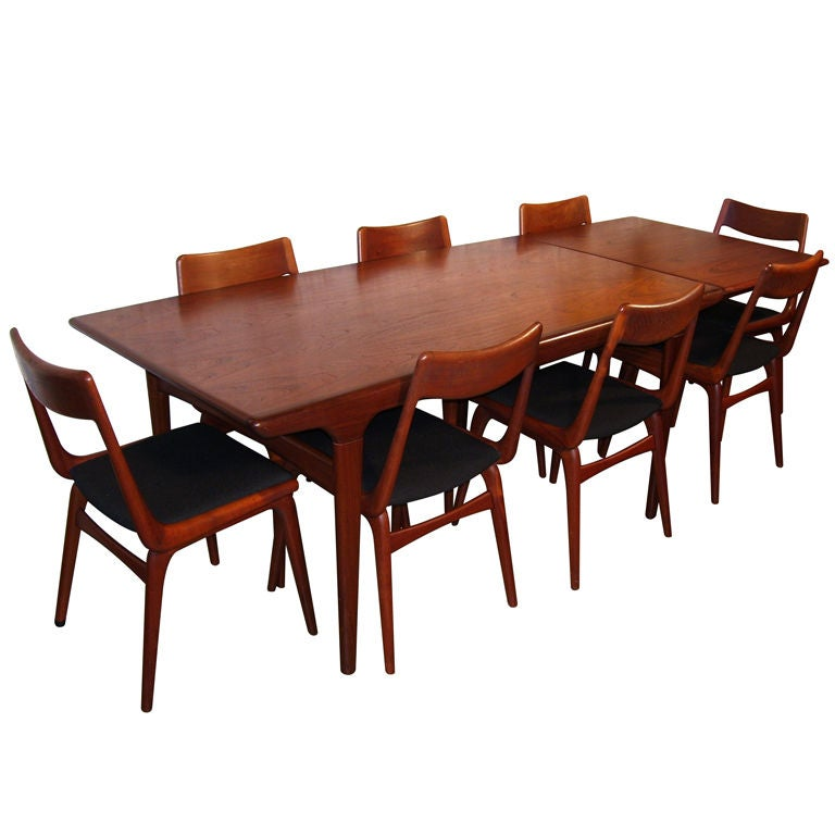 Teak Danish Modern Draw Leaf Dining Table And Eight Chairs