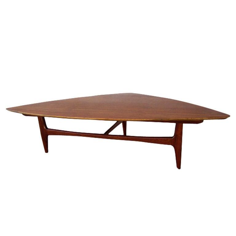 Triangular Coffee Table By Erwin Lambeth At 1stdibs