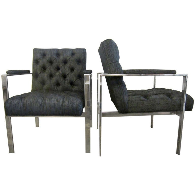 Tufted Lounge Chairs by Milo Baughman at 1stdibs