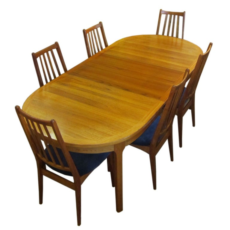 danish modern dining table with six chairs at 1stdibs