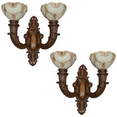 "Pair of Bronze Two-Arm Sconces, Signed ""Sterling Bronze"""