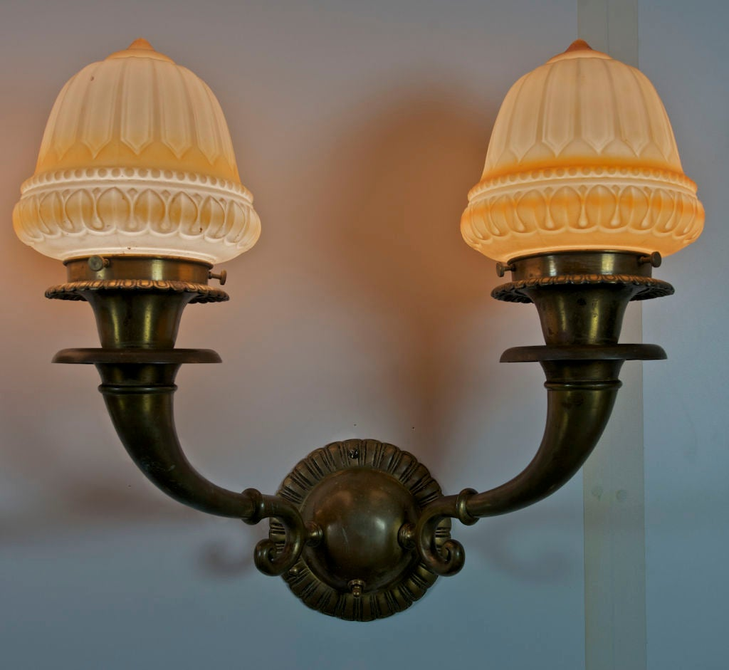American Pair of Edwardian Two-Arm Sconces For Sale