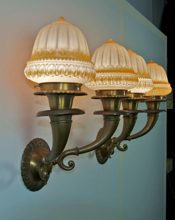 Molded Pair of Edwardian Two-Arm Sconces For Sale