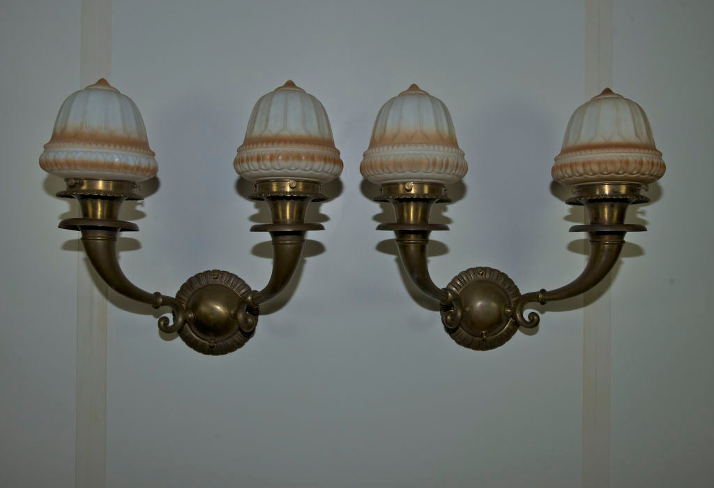 Pair of Edwardian Two-Arm Sconces In Excellent Condition For Sale In San Francisco, CA