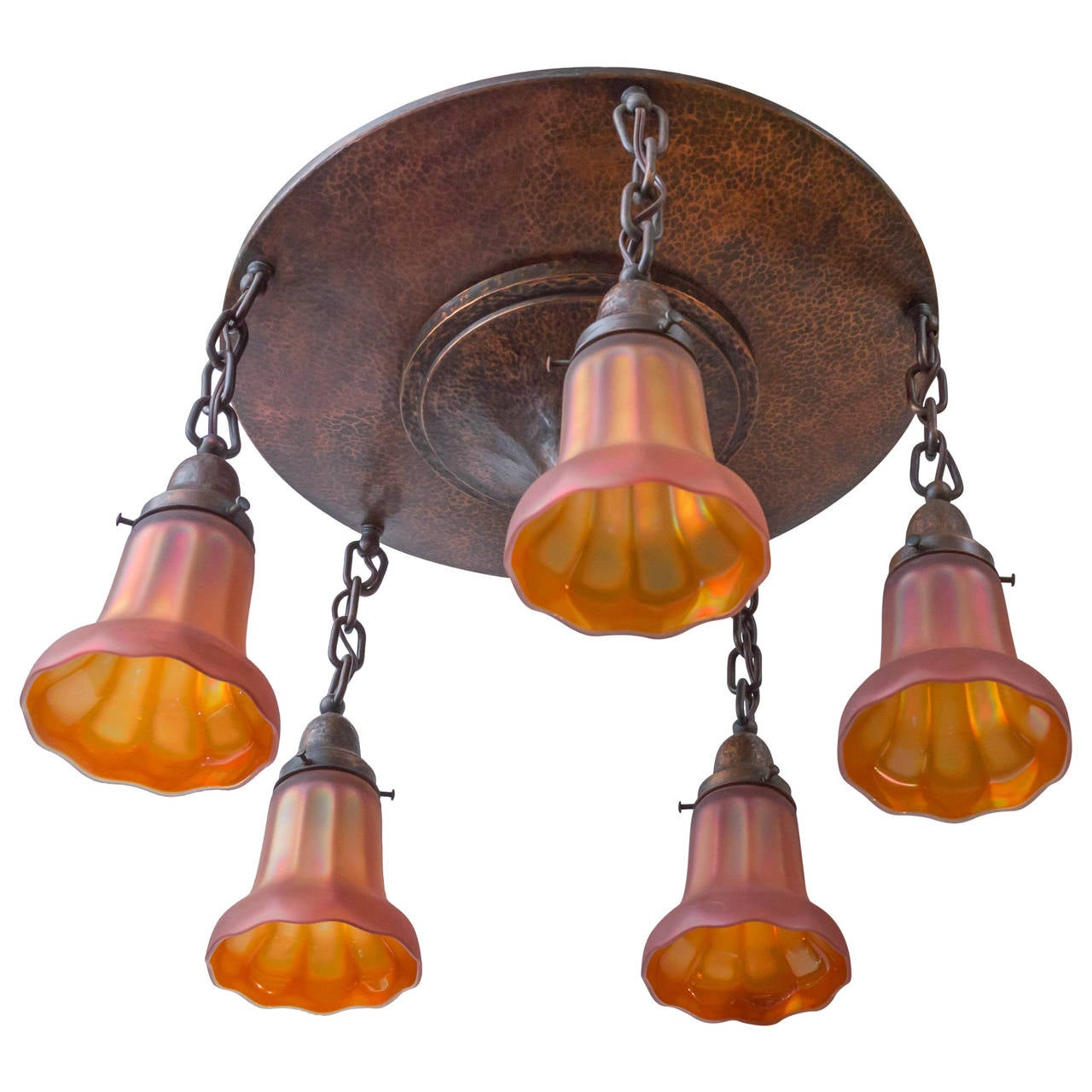 Arts and crafts hammered copper flush mount chandelier for Arts and crafts flush mount lighting