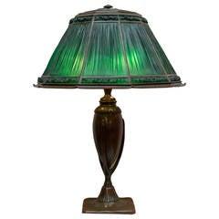 Tiffany Studios Green Linenfold Table Lamp