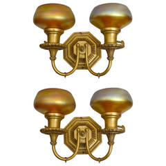 Pair of Double-Arm Gilt Bronze and Art Glass Sconces by Caldwell