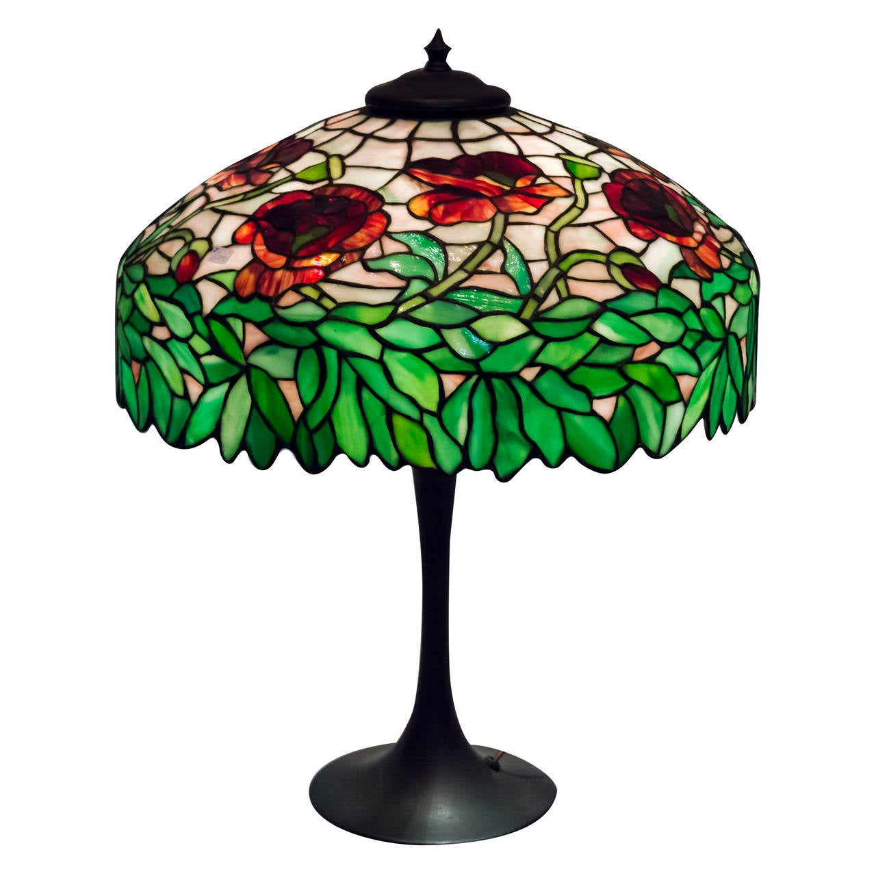 Leaded Gl Table Lamp Oriental Poppy Ca 1910 For